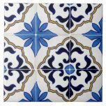 "Mexican talavera blue star Ceramic Photo Tile<br><div class=""desc"">Blue star and fleur de lis Mexican talavera tile design pattern - blue,  white and yellow</div>"