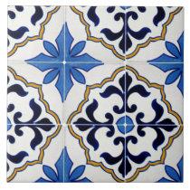 Mexican talavera blue star Ceramic Photo Tile