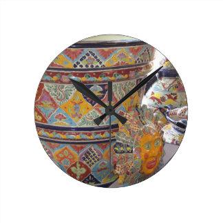 Mexican Talavera style pottery Round Clocks