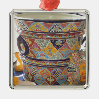 Mexican Talavera style pottery Square Metal Christmas Ornament