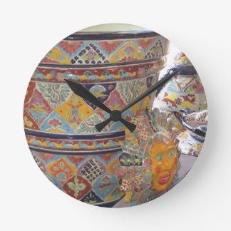 Mexican Talavera style pottery Round Clock