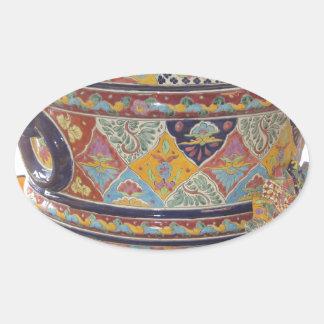 Mexican Talavera style pottery Oval Sticker