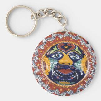 Mexican Talavera style sun Basic Round Button Keychain