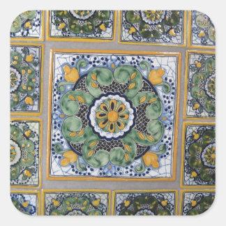 Mexican Talavera style tiles Square Sticker