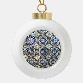 Mexican Talavera tile design Ceramic Ball Christmas Ornament