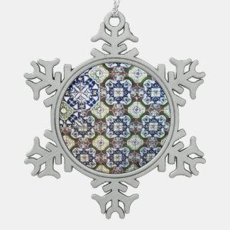 Mexican Talavera tile design Snowflake Pewter Christmas Ornament