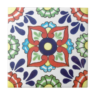 Mexican Talavera tile (red, green, yellow, blue)