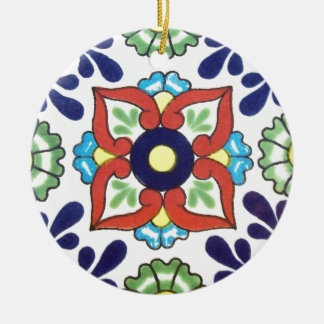 Mexican Talavera tile (red, green, yellow, blue) Ceramic Ornament