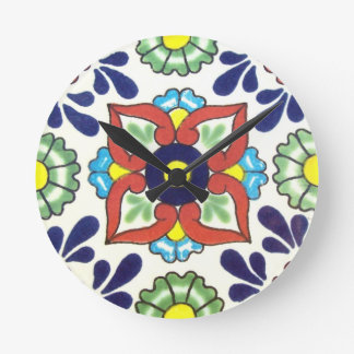 Mexican Talavera tile (red, green, yellow, blue) Round Wall Clock