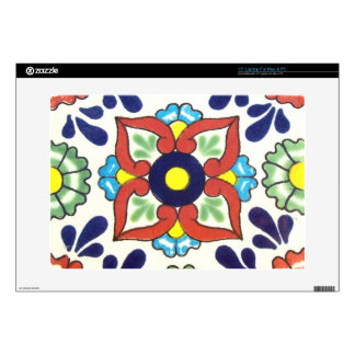 Mexican Talavera tile (red, green, yellow, blue) Laptop Decal