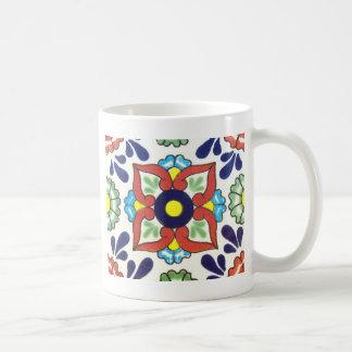 Mexican Talavera tile (red, green, yellow, blue) Classic White Coffee Mug