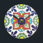 """Mexican Talavera tile (red, green, yellow, blue) Round Clock<br><div class=""""desc"""">Mexican Talavera tile (red,  green,  yellow,  blue)</div>"""
