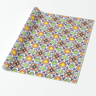 Mexican Talavera tile (red, green, yellow, blue) Gift Wrap