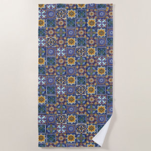 Mexican Talavera Tiles Beach Towel