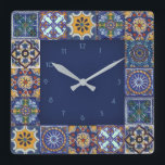 """Mexican Talavera Tiles Square Wall Clock<br><div class=""""desc"""">Design created from images of original Talavera Tiles from Puebla,  Atlixco,  Cholula and Tecali.    More items with this design at:  www.zazzle.com/aura2000/talavera</div>"""