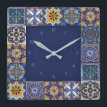 "Mexican Talavera Tiles Square Wall Clock<br><div class=""desc"">Design created from images of original Talavera Tiles from Puebla,  Atlixco,  Cholula and Tecali.  
