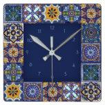 Mexican Talavera Tiles Square Wall Clock