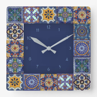 Mexican Talavera Tiles Square Wall Clock