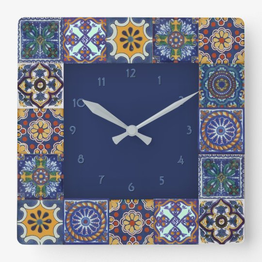 Mexican Talavera Tiles Square Wall Clock Zazzle Com