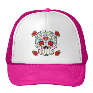 Mexican Tattoo Sugar Skull and Red Roses Trucker Hat