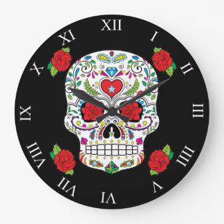 Mexican Tattoo Sugar Skull and Red Roses Large Clock