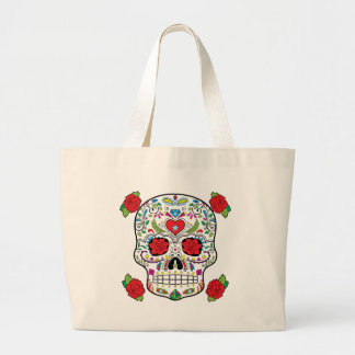Mexican Tattoo Sugar Skull and Red Roses Large Tote Bag