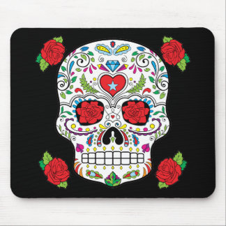 Mexican Tattoo Sugar Skull and Red Roses Mouse Pad