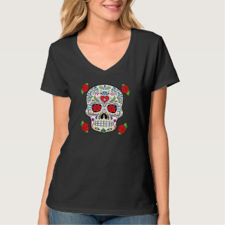 Mexican Tattoo Sugar Skull and Red Roses T-Shirt