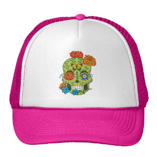 Mexican Tattoo Sugar Skull Rose In Mouth Trucker Hat