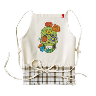 Mexican Tattoo Sugar Skull Rose In Mouth Zazzle HEART Apron