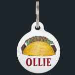 "Mexican Tex Mex Food Corn Taco Tuesday Foodie Pet ID Tag<br><div class=""desc"">Pet tag features an original marker illustration of a delicious hard shell taco. Simply personalize with your pet&#39;s name and your contact information for a one-of-a-kind cat or dog tag.  Don&#39;t see what you&#39;re looking for? Need help with customization? Contact Rebecca to have something designed just for you.</div>"