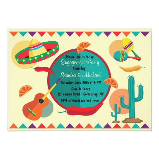 Mexican theme engagement party invitation zazzle for Engagement party invitations with photo
