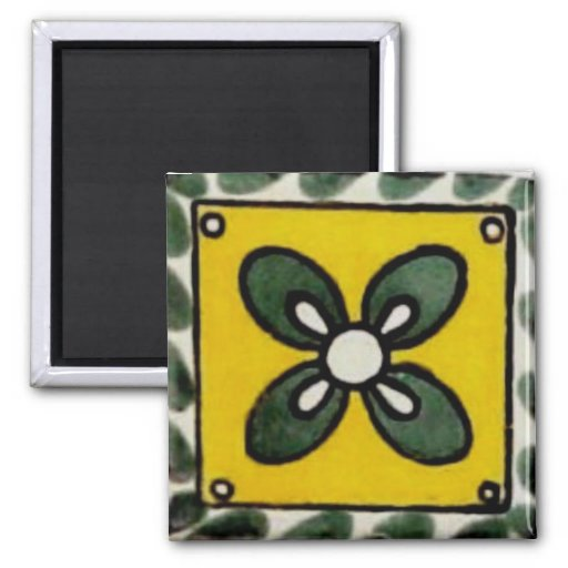 Mexican tile - 4 Leaf Clover 2 Inch Square Magnet