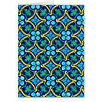Mexican Tile Design Teal Yellow Floral Print