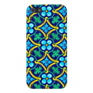 Mexican Tile Design Teal Yellow Floral Print Cover For iPhone SE/5/5s