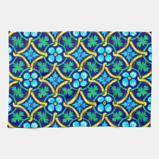 Mexican Tile Design Teal Yellow Floral Print Kitchen