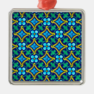 Mexican Tile Design Teal Yellow Floral Print Metal Ornament