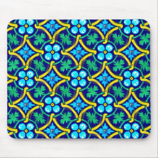 Mexican Tile Design Teal Yellow Floral Print Mouse Pad