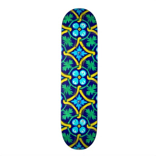 Mexican Tile Design Teal Yellow Floral Print Skate Board Deck