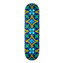 Mexican Tile Design Teal Yellow Floral Print Skateboard Deck