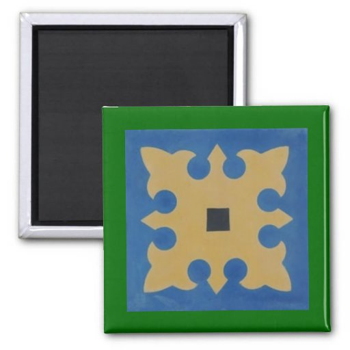 Mexican Tile Greeen Blue Tan 2 Inch Square Magnet