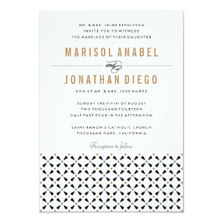 Mexican Tile Neutral Modern Wedding Invitation