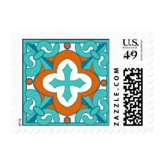 Mexican Tile  Orange and Turquoise Postage