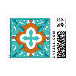 Mexican Tile  Orange and Turquoise Stamp