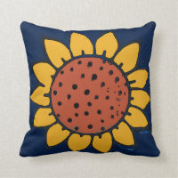 Mexican Tile Sunflower Blue Throw Pillow