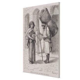 Mexican Tortillera and Straw Mat Seller Canvas Print