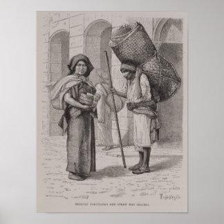Mexican Tortillera and Straw Mat Seller Poster