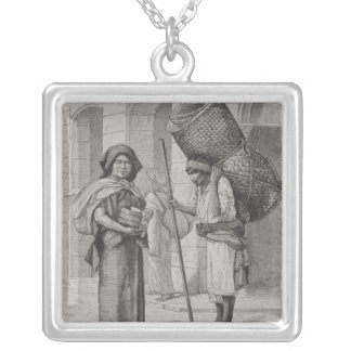 Mexican Tortillera and Straw Mat Seller Silver Plated Necklace