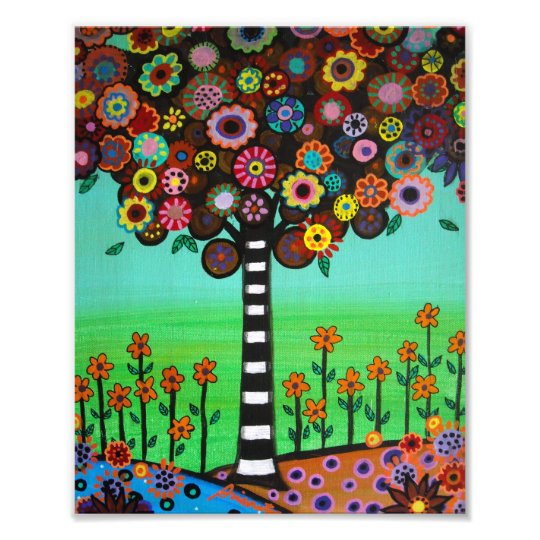 Mexican Tree of Life Flowers Painting Photo Print