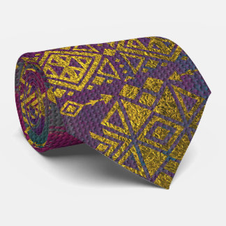 Mexican /Tribal Style pattern - Gold on Vintage pu Tie
